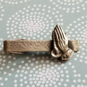 Vintage praying hands tie clip silver tone